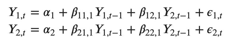 Formula for VAR(1) model with two Y's